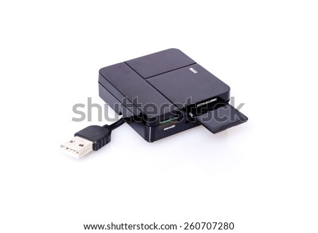 SD card a d  card reader with shadow and reflection on white background - stock photo