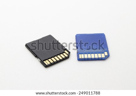 SD Memory Card with Black and blue colour. Shoot in white background. All of the information has been removed.