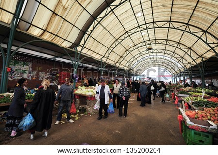 SDEROT - DEC 29:Vegetables & fruit on display on Dec 29 2009 in Sderot market.Israel is world-leader in agricultural technologies, while only 20% of the land is arable it produces 95% of its own food. - stock photo