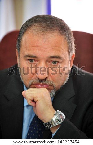 SDEROT,ISR - APR 08:Avigdor Lieberman on Apr 08 2010:He was Israel Minister of Foreign Affairs until 18 Dec 2012,when investigation in which he was charged with fraud and breach of trust,took effect - stock photo