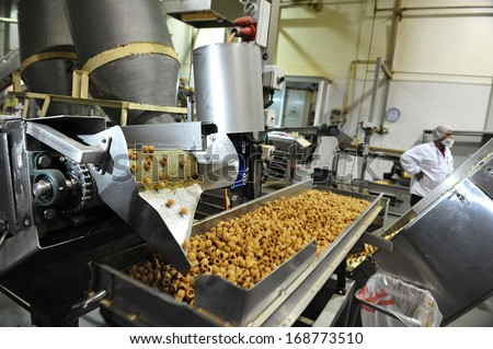 SDEROT, ISR - AUG 11: Food factory on Aug 11 2009.Processed food sales worldwide are approximately US$3.2 trillion (2004) - stock photo