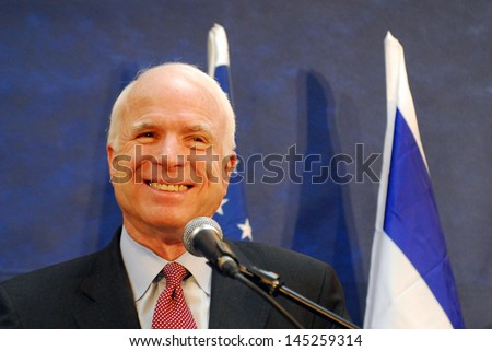 SDEROT,ISR - MAR 19:John McCain on March 19 2008. He was the Republican presidential nominee in the 2008 United States election but lost to Democratic candidate Barack Obama in the general election. - stock photo