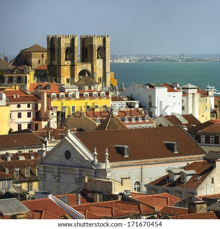 Se cathedral from Santa Justa. Lisbon - capital of Portugal - stock photo