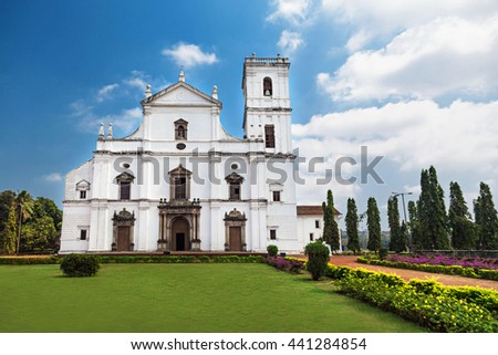 Se cathedral in Old Goa, Goa state, India - stock photo