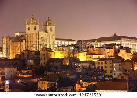 Se, Cathedral of Porto at night, Portugal - stock photo
