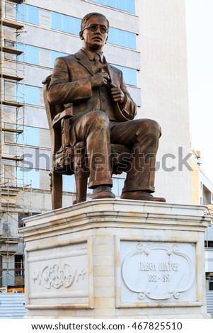 SE Europe, central Balkan Peninsula, The Republic of Macedonia, Skopje, intellectuals and forefathers of the country. Statue of Pavel Shatev.  2015-09-17