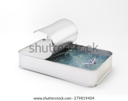 Sea and a fish inside a can - overfishing concept - stock photo