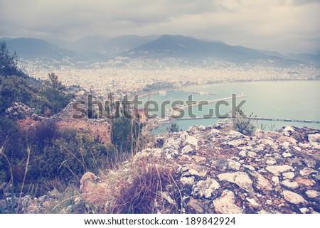 sea �¢??�¢??and Alanya, Turkey, instagram retro effect - stock photo
