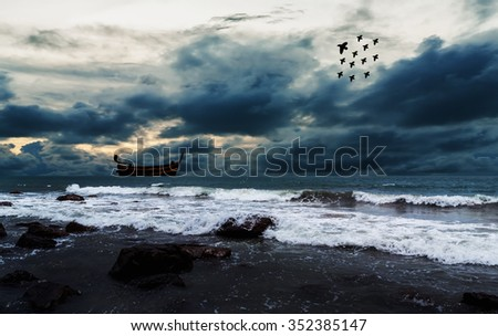 Sea and beach with sky storm cloud, Over dark tone
