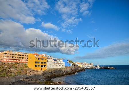 Sea and Building at Sunset in Tenerife Canary Islands