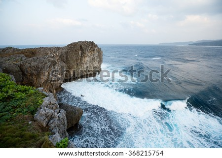 Sea and cliff - stock photo