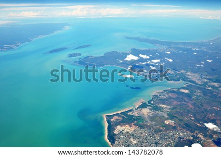 Sea and Coast - top view - stock photo