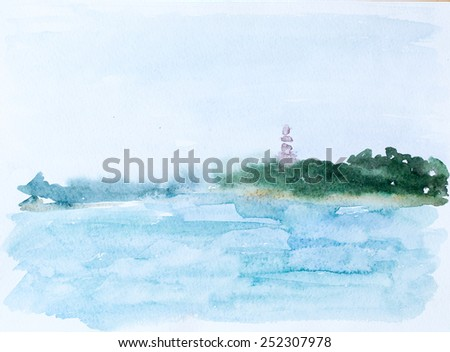 Sea and forest, watercolor picture - stock photo