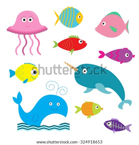 Sea and ocean animal set. Isolated. Fish, jellyfish, narwhal, whale, x-ray fish. Baby background. Flat design