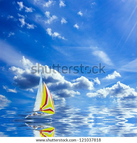 Sea and ocean. Sailboat floats on the ocean of fantasy.