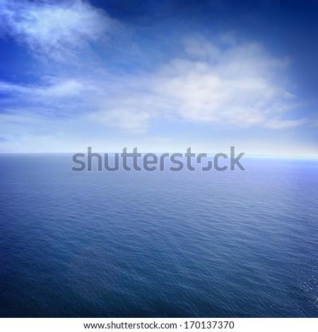 sea and perfect sky - stock photo