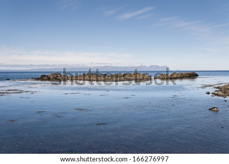 sea and rocks on the Vatnsnes peninsula in Iceland