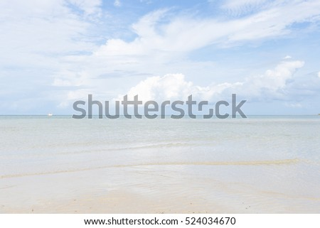 Sea and sand beach. Clear skies and crystal clear waters. Sea Thailand