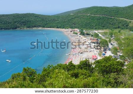 sea and sand beach in Budva municipality, Montenegro - stock photo