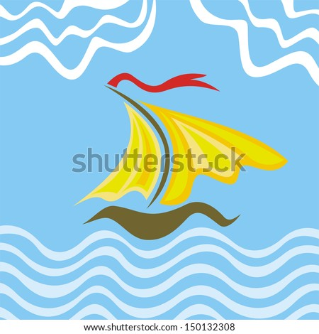 Sea and ship abstract illustration
