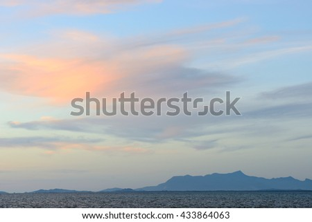 Sea and sky with colorful cloud