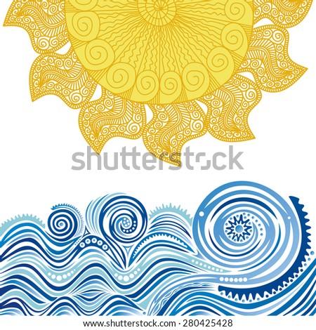 Sea and sun nature pattern background illustration - stock photo