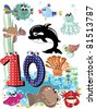 Sea animals and numbers series for kids, from 0 to 10 number 10. - stock vector