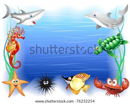 Sea Animals Cartoon Background - stock photo