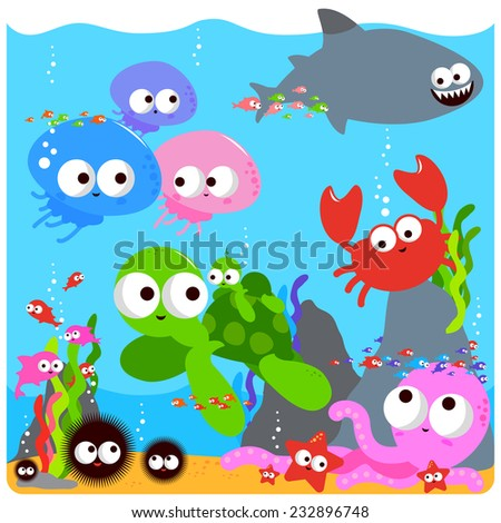 Sea animals. Vector Illustration of colorful sea animals swimming underwater.Vector version also available in my gallery. - stock photo