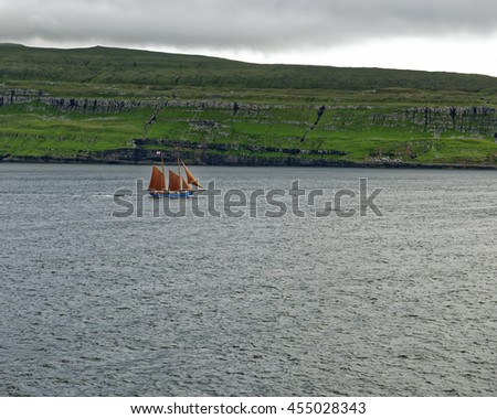 Sea approach to the remote Faroe Islands, which are located midway between Iceland and the Northwest of Scotland, United Kingdom