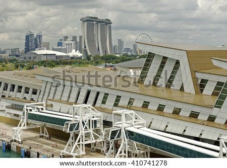 Sea arrival at the port of Singapore - stock photo