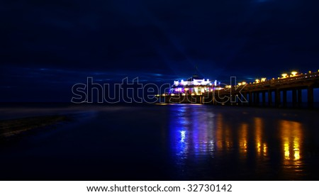 sea at night - stock photo
