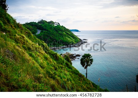 sea bay and mountain islands - stock photo