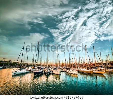 Sea bay with yachts against sky - stock photo