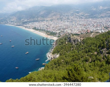 Sea, beach and the city of Alanya, view from the Alanya castle, Turkey - stock photo