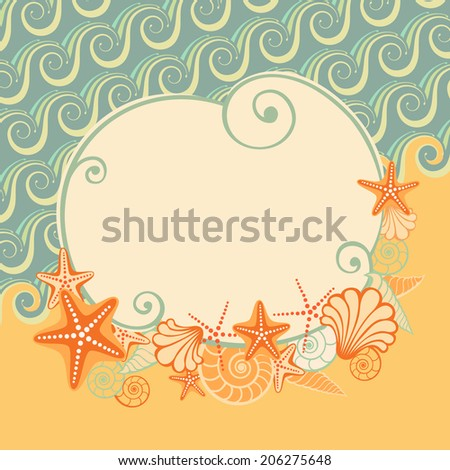 Sea beach background  with banner, starfish and seashells. Vintage illustration for print, web - stock photo