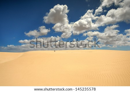 sea beach blue sky sand sun daylight relaxation landscape, Dunes of Corralejo, Fuerteventura - stock photo