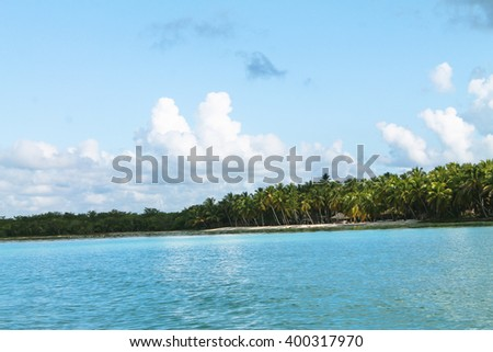 sea, beach, boats and palms