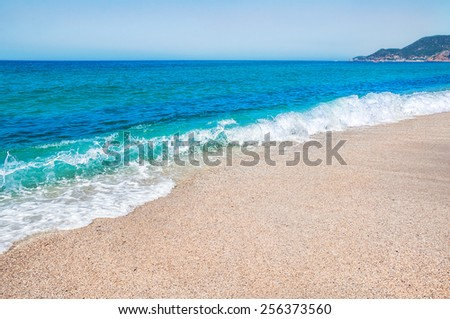 Sea beach in Alanya, Turkey.  Beautiful summer landscape. - stock photo