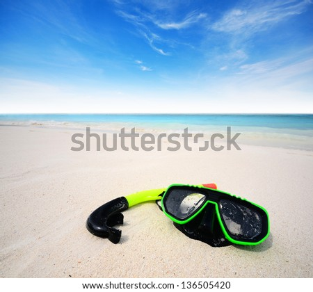 sea beach sand sun daylight snorkel nature relax relaxation summer travel in Thailand - stock photo