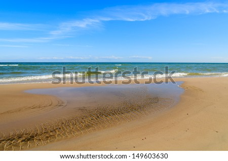Sea beach sandbank wave coast summer blue sunny sky, Leba, Baltic Sea, Poland