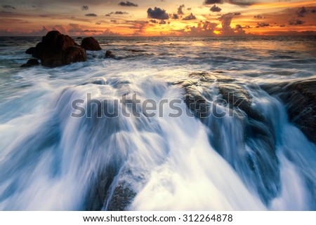 sea beach sunset - stock photo