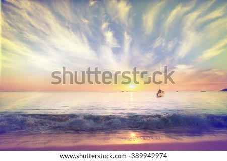 Sea beach sunset gold - stock photo