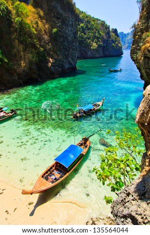 Sea boat view and island south Thailand - stock photo