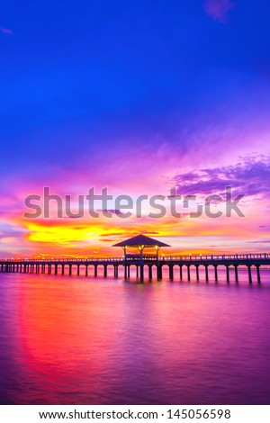 Sea bridge in the province of Chonburi. - stock photo