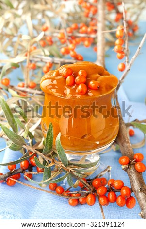 sea buckthorn jam organic bio home made food diabetic food sugar free autumn sunlight - stock photo