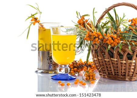 sea buckthorn tea in a cup on a white background