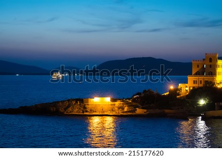 sea by night in Alghero, Sardinia