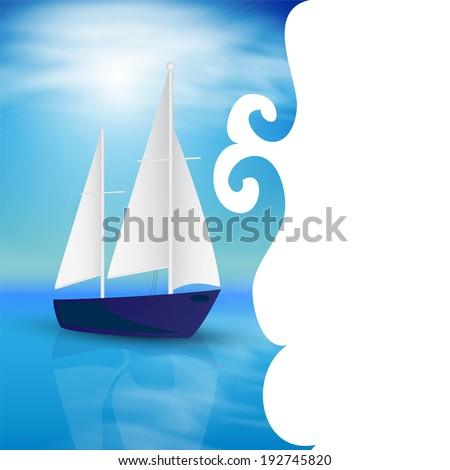 Sea card design. - stock photo