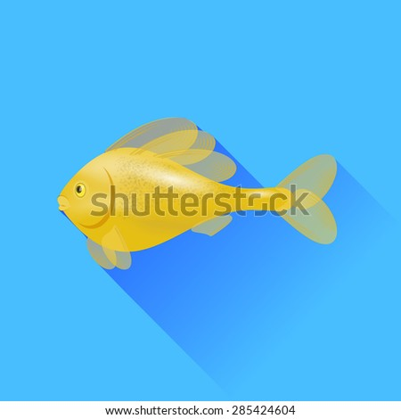 Sea Cartoon Gold Fish Isolated on Blue Background. - stock photo